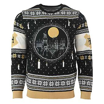 Harry Potter Christmas Jumper Hogwarts Skyline Candle Light Up Official Knitted