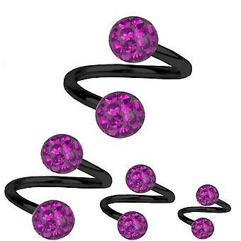 Spiral Twist Piercing sorte Titanium 1,2 mm, Multi krystalkugle lilla | 6-12 mm