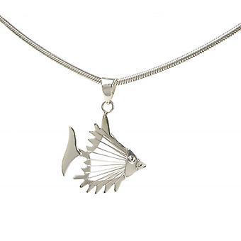 Cavendish argento francese Open Fish ciondolo con catena d'argento 18-20
