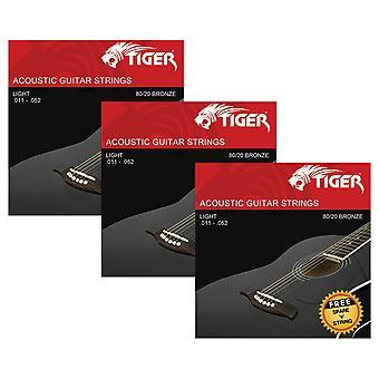 Tiger Acoustic Guitar Strings - Pack of 3 Super Light (11-52) Sets