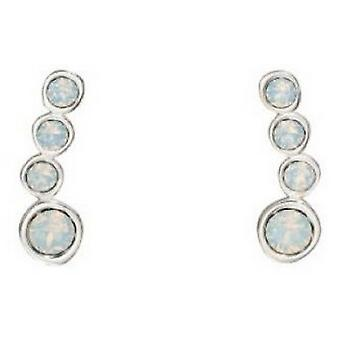 Elements Silver Crawler Swarovski Earrings - Silver/White