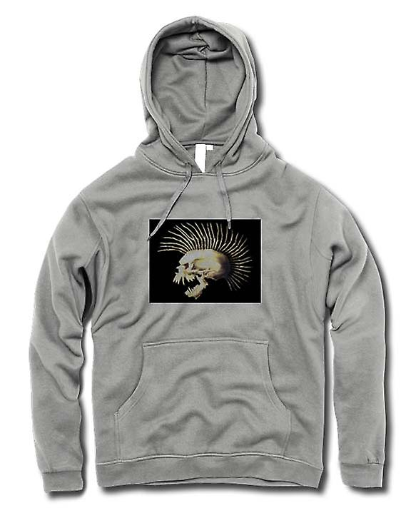 Mens Hoodie - Punk Skull With Spines