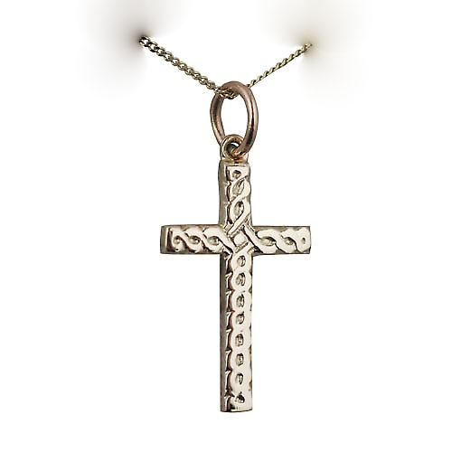 9ct Gold 20x12mm Celtic knot embossed Cross with a curb Chain 16 inches Only Suitable for Children