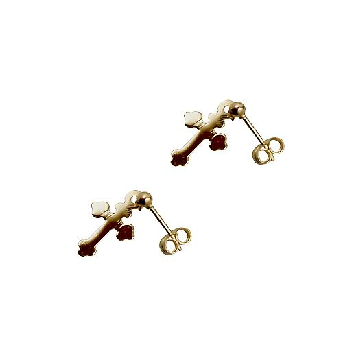 9ct Gold 13x10mm plain Cross Dropper Earrings