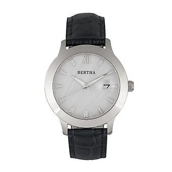 Bertha Eden pärlemor läder-Band Watch w/datum-svart/Silver