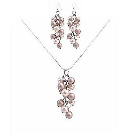 Champagne Ivory Pearls Necklaces & Earrings At Affordable Prices