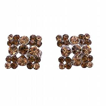 Light & Dark Smoked Topaz Crystals Fashion Accessory Pierced Earrings