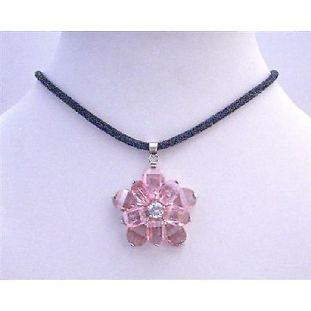 Sunflower Pink Crystal Flower Pendant w/ Black Velvet Cord Necklace