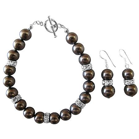 Darkest Brown Chocolate Pearl Bracelet & Earrings Wedding Jewelry Set