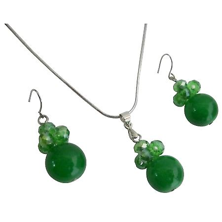 Jewelry Inspiration For Bridesmaid In Green Color Necklace Earrings