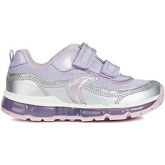 Geox Girls Android J9245A Lights Trainers Silver Lilac