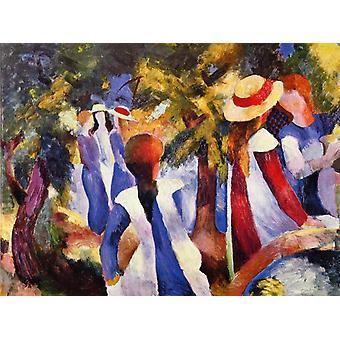 Girls Amongst Trees, August Macke, 50x37cm