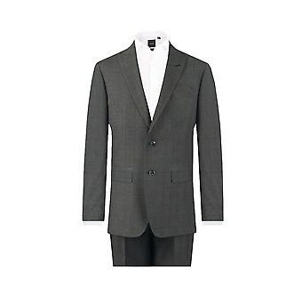 Dobell Mens Charcoal 2 Piece Suit Regular Fit Peak Lapel Windowpane Check