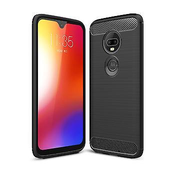 Motorola Moto G7 TPU Case Carbon Fiber Optik Brushed Schutz Hülle Schwarz