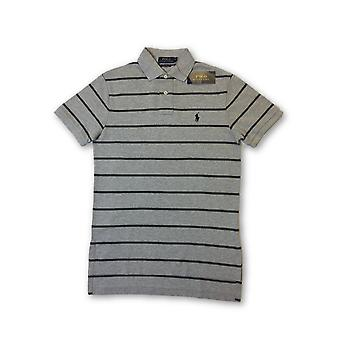 Ralph Lauren polo cutom fit polo in grey tripe patter