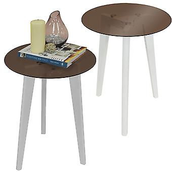 Luna - Pack Of Two - Retro Solid Wood Tripod Leg And Round Glass End / Side Table - White / Tinted