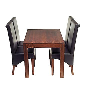 Phoenix Dark Mango 4 Seater Dining Set With Leather Chairs