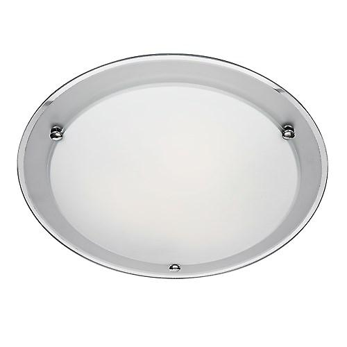 Searchlight 8232-32 Flush Ceiling Light With Round Etched Mirror Band 32cm