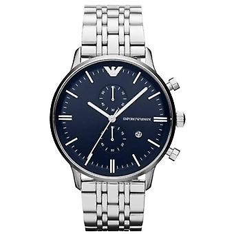 Emporio Armani Ar1648 Classic Blue Chrono Stainless Steel Mens Watch