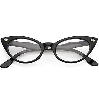 Dame lille retro oval kat øje klare linse briller