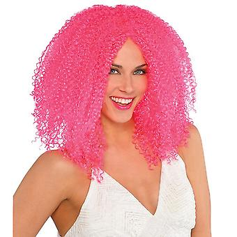 Womens Pink Crimped Perruque Halloween Fancy Dress Accessoire