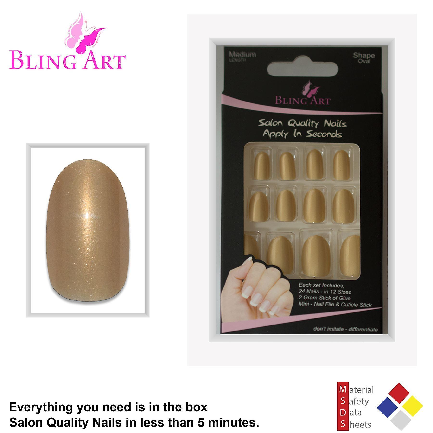 False nails by bling art gold glitter oval medium fake acrylic 24 tips with glue