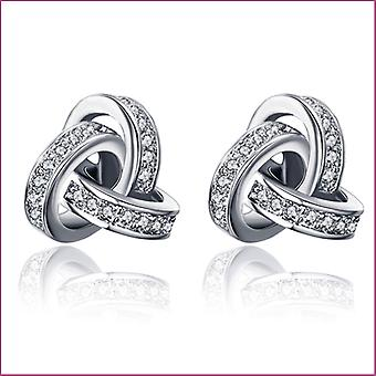 18K White Gold Plated Twist Love Knot Earrings