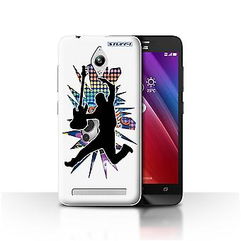 STUFF4 Case/Cover for Asus Zenfone Go ZC500TG/Leap/Jump White/Rock Star Pose