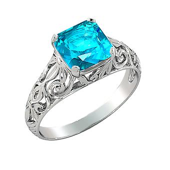 14K White Gold 2.00 CT Aquamarine Ring Vintage Art Deco Filigree