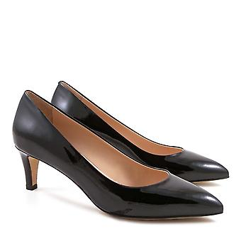 Handmade black patent leather heels pumps shoes