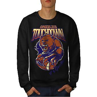 Wellcoda | Grizzli sport Mens Black Sweatshirt