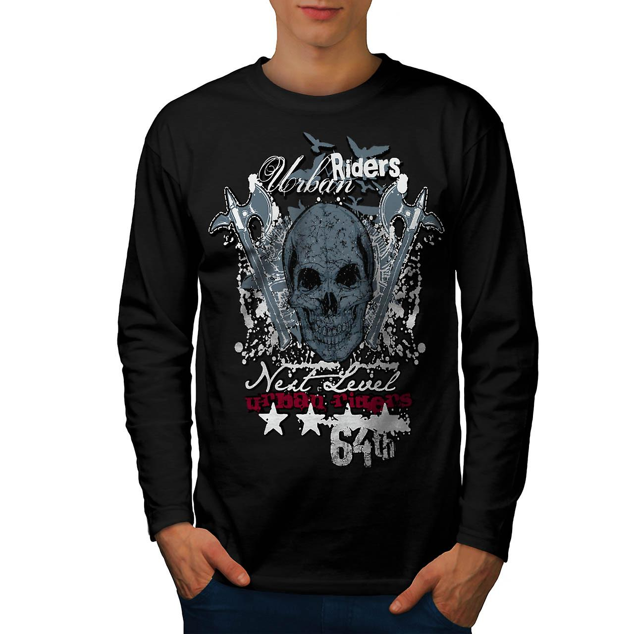 Urban Hell Rise Rider Bike Skull Men Black Long Sleeve T-shirt | Wellcoda