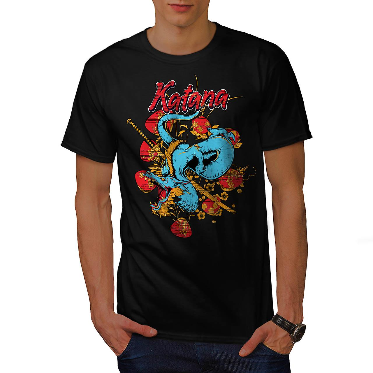 Katana Dragon Slayer orientali uomini t-shirt nero | Wellcoda