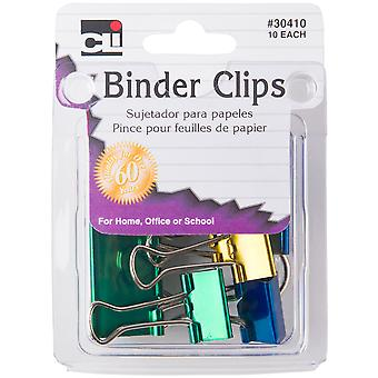 Binder Clips 10/Pkg-Assorted Metallics CL30410