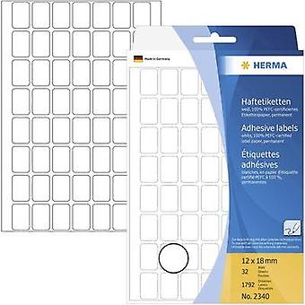 Herma 2340 Labels (hand writable) 12 x 18 mm Paper White 1792 pc(s) Permanent All-purpose labels