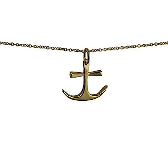 9ct Gold 16x18mm Anchor Pendant with a cable Chain 20 inches