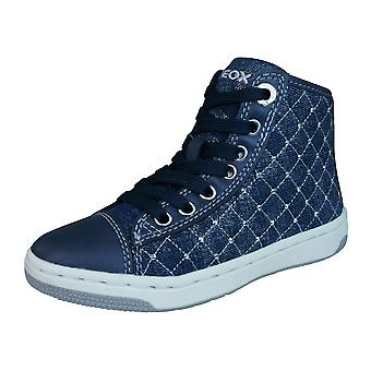 Geox J Creamy B Girls Hi Top Trainers / Shoes - Navy Blue