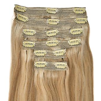 #18/22 Golden Blonde with Light Blonde Highlights - Clip-in Hair Extensions - Full Head - DELUXE