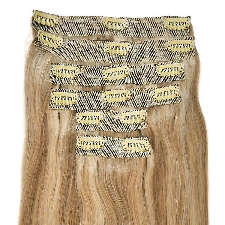 Deluxe, Quadruple Weft, FULL HEAD, Real Clip-in Hair Extensions - 100% Remy, Luxury Soft, Human Hair, (20 inch, 6pcs, 235g)