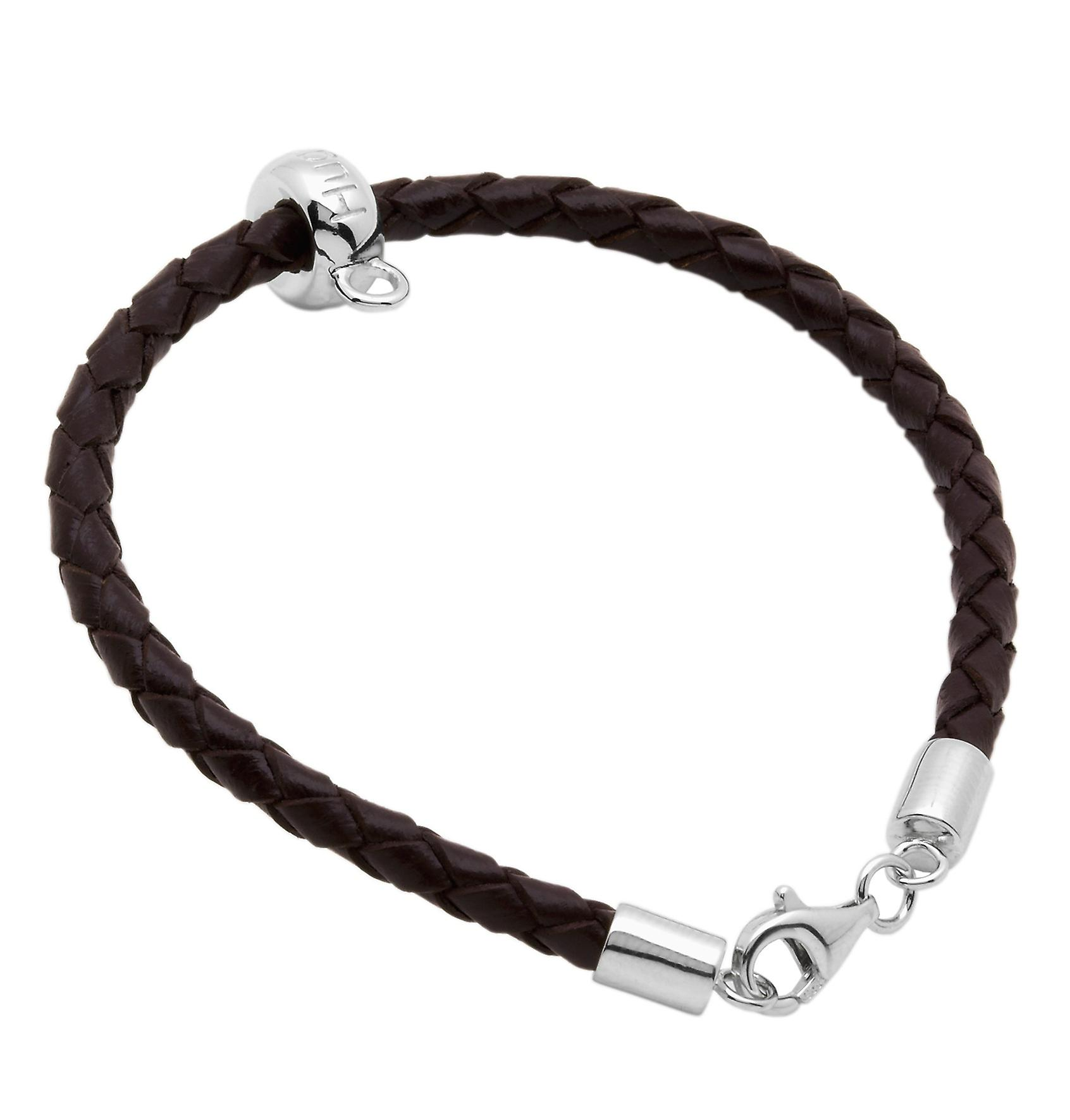 Burgmeister  leather bracelet brown plaited, JHE1063-529 925 sterling silver rhodanized