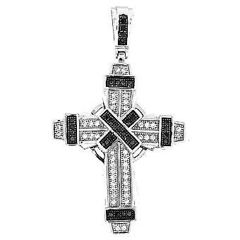 925 iced out silver cross - Mirco pave Black / Silver II