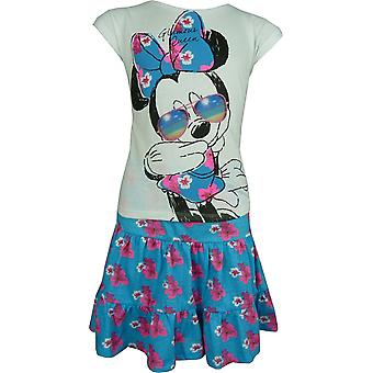 Garotas Disney Minnie Mouse 2-Piece Set manga curta camiseta e saia