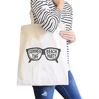 Summer Beach Party Natural Cute Summer Heavy Cotton Canvas Bags