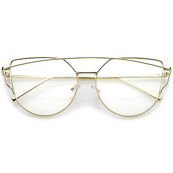 Modern Slim Metal Frame Crossbar Clear Flat Lens Aviator Eyeglasses 55mm