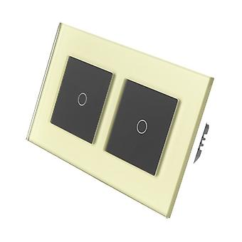 I LumoS Gold Glass Double Frame 2 Gang 1 Way WIFI/4G Remote & Dimmer Touch LED Light Switch Black Insert