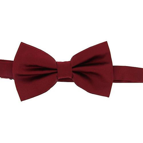 David Van Hagen Plain Satin Silk Bow Tie - Wine