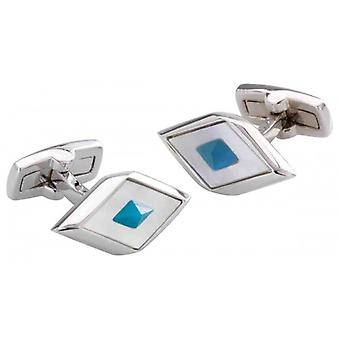 Duncan Walton Agden Mother of Pearl and Agate Cufflinks - White/Blue/Silver