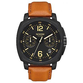 Nixon oplader Chrono læder Watch - Tan/sort