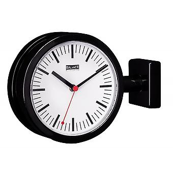 Balance double-sided Station Clock 20 cm Black