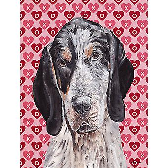 Blue Tick Coonhound Hearts and Love Flag Garden Size